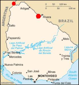 Mapa del Uruguay, de izquierda a derecha los puntos rojos son la Isla Brasilera y El Rincón de Artigas.